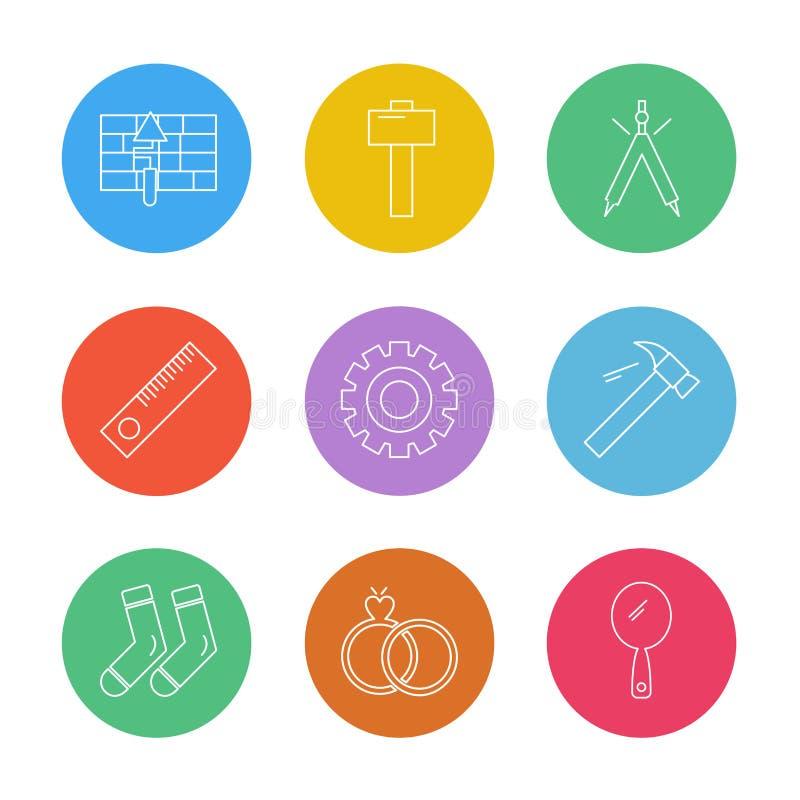młot, skarpety, tenis, narzędzia, narzędzia, praca, constructio ilustracja wektor