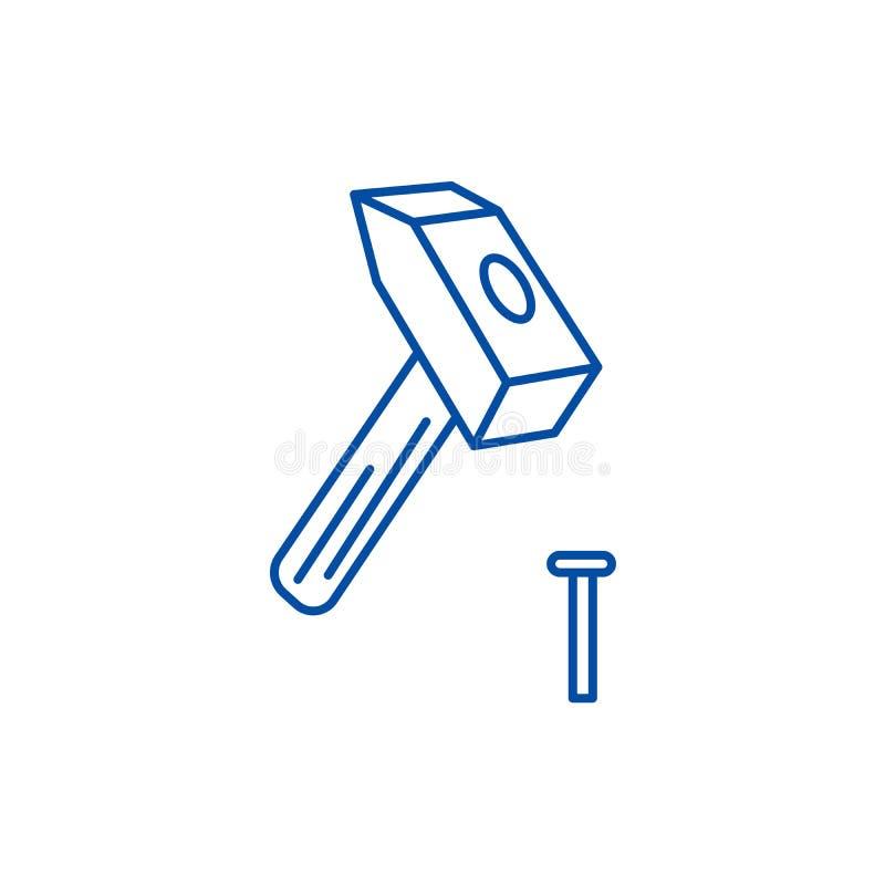 Młot z szpilki linii ikony pojęciem Młot z wałkowym płaskim wektorowym symbolem, znak, kontur ilustracja ilustracji