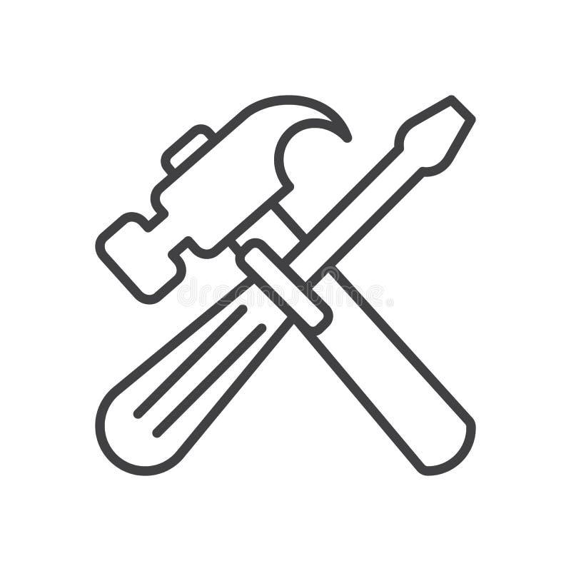 Młota i śrubokrętu kreskowa ikona, konturu wektoru znak, liniowy stylowy piktogram odizolowywający na bielu ilustracja wektor