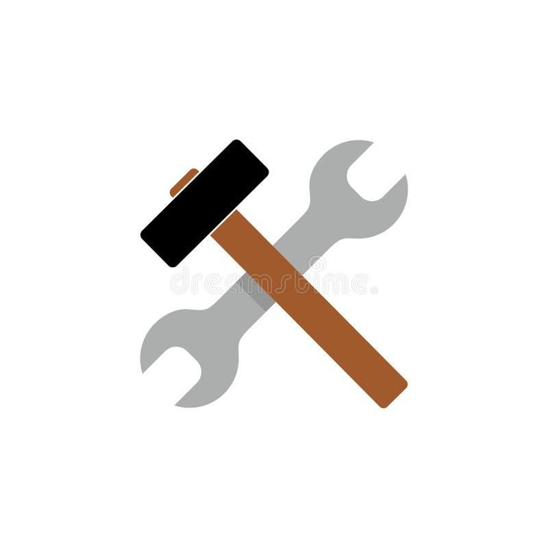 Młota i wyrwania naprawa wytłacza wzory płaską ikonę dla apps ilustracji