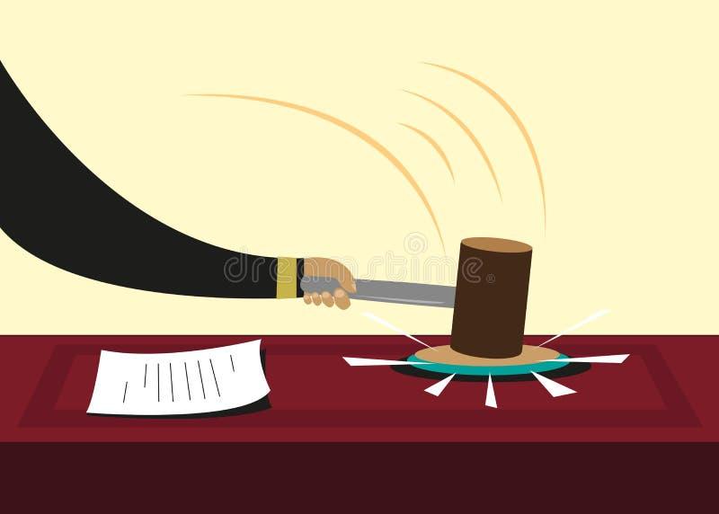 Młoteczek lub młot używać w sądach lub politycznych sesjach Editable klamerki sztuka ilustracja wektor