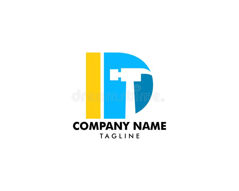 Młoteczkowy logo z Listowym d, naprawy, budowy lub odświeżania logo pojęciem, ilustracja wektor