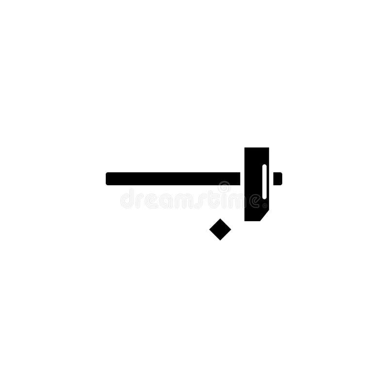 Młotkować gwóźdź ikony czarnego pojęcie Młotkujący przybija płaskiego wektorowego symbol, znak, ilustracja ilustracji