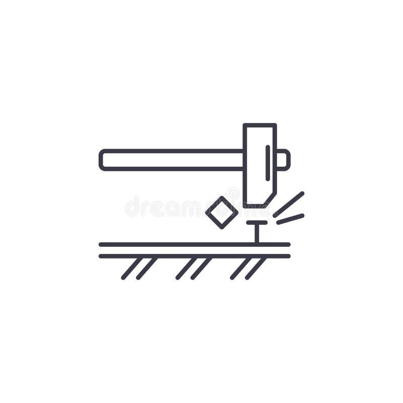 Młotkować gwóźdź ikony liniowego pojęcie Młotkujący gwóźdź wykłada wektoru znaka, symbol, ilustracja ilustracji