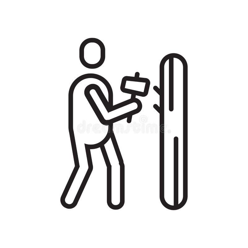 Młotkujący ikona wektoru znaka i symbol odizolowywających na białym backgrou ilustracja wektor
