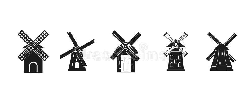 Młyński ikona set, prosty styl royalty ilustracja