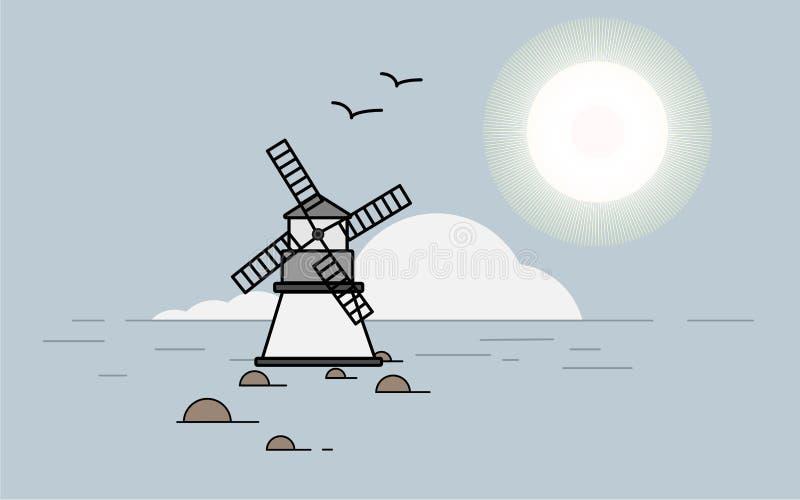 Młyn w morzu ilustracji