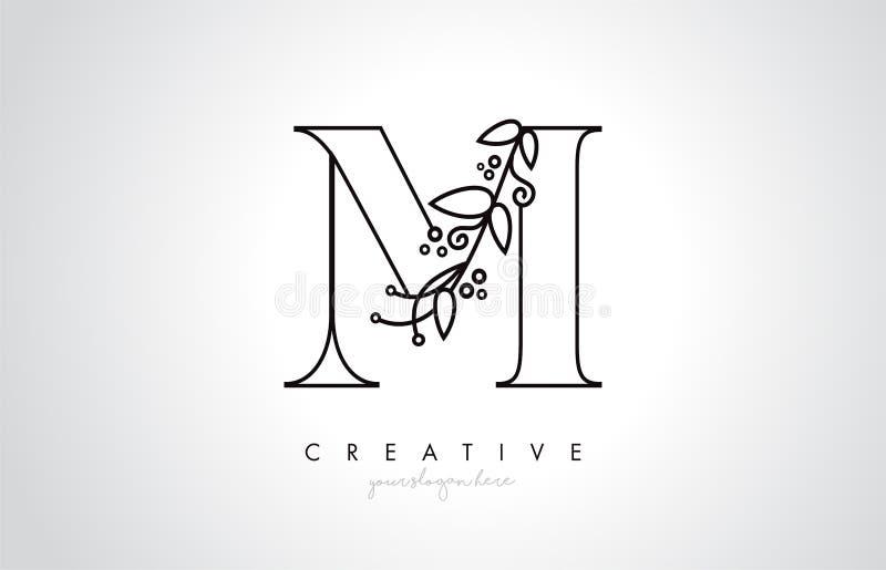 M与有机组合图案厂叶子细节和圈子设计的信件商标 创造性的信件象 向量例证