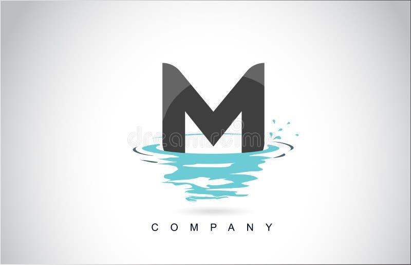 M信件与水飞溅的商标设计起波纹下落反射 皇族释放例证