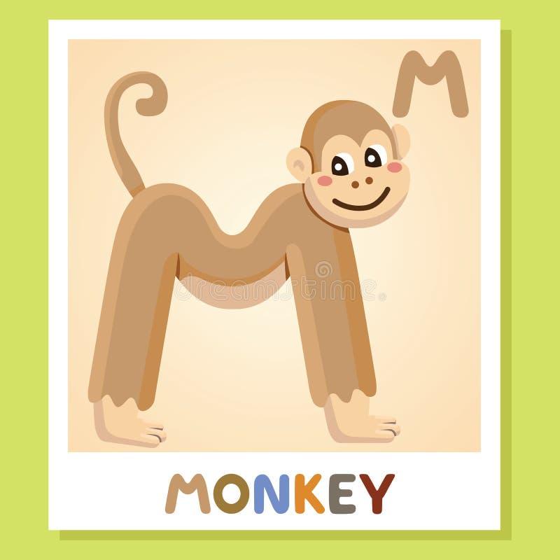 M是为猴子 信函m 猴子,逗人喜爱的例证 字母表动物背景镜象向量白色 向量例证