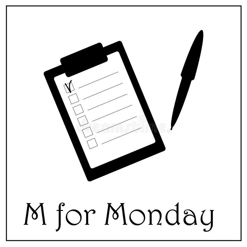 M для иллюстрации недели дела понедельника, значка блокнота иллюстрация штока