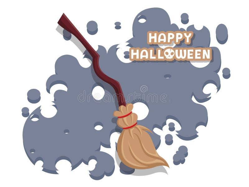 m 由枝杈做的笤帚在长的木把柄传染媒介在背景 r 贺卡,党邀请 库存例证