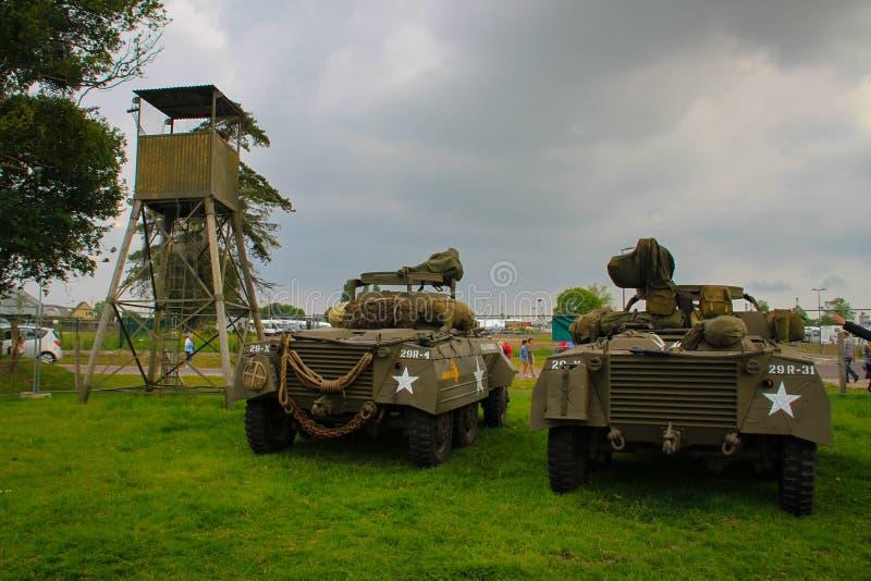 诺曼底,2014年6月4日:军车出席攻击开始日第70周年的庆祝的福特M8  图库摄影
