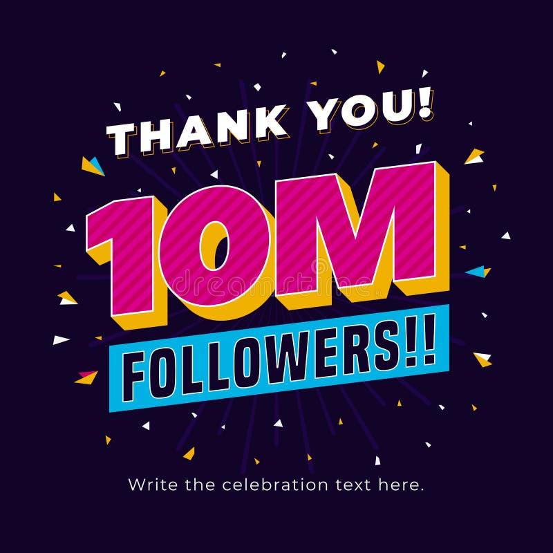 10m-aanhangers, tien miljoen aanhangers sociaal media postmalplaatje als achtergrond Het creatieve ontwerp van de vieringstypogra royalty-vrije illustratie