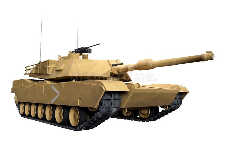 M1 Abrams War Tank. 3D render of M1 Abrams tank of war isolated on white background. Desert war paint vector illustration