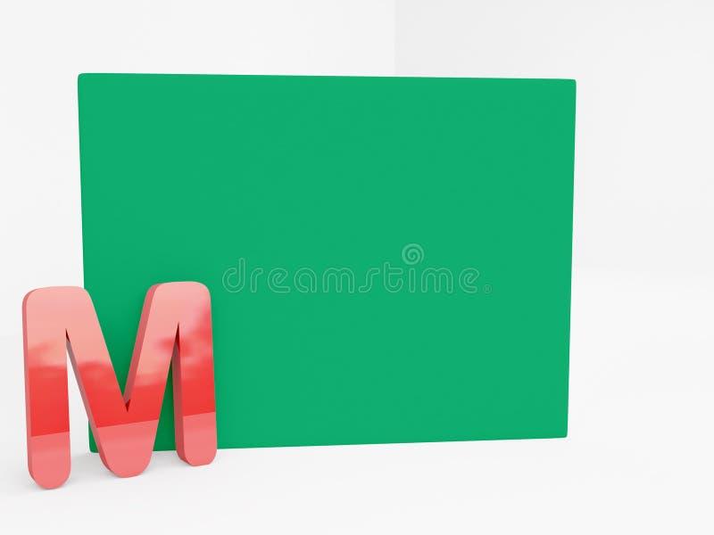 M alfabet met leeg groen canvas stock afbeeldingen