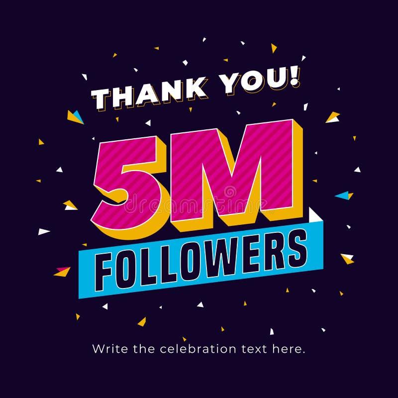 5m anhängare, fem miljon sociala massmedia för anhängare postar bakgrundsmallen Idérik berömtypografidesign med konfettinolla royaltyfri illustrationer