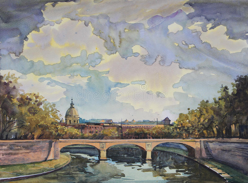 målningsrome vattenfärg royaltyfri illustrationer