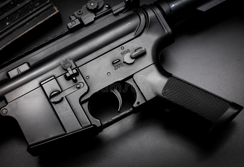 M4A1 assault rifle on black background stock photos