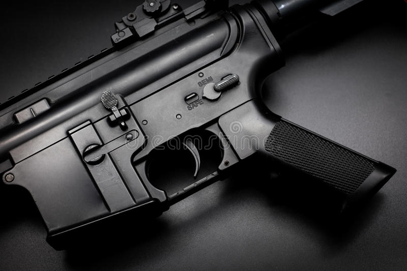 M4A1 assault rifle on black background stock photography