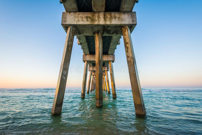 The M.B. Miller County Pier and Gulf of Mexico at sunrise, in Panama City Beach, Florida stock photo