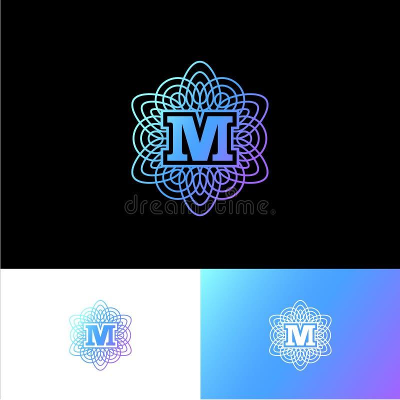 M-bokstav eller monogram Det original- guld- M-bokstavssymbolet i en guillocheprydnad vektor illustrationer