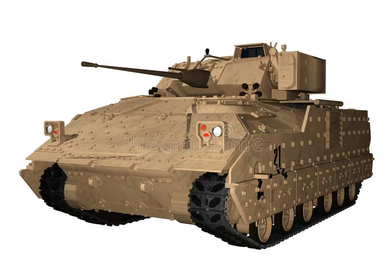 M2 Bradley Fighting Vehicle in Bruine Woestijn vector illustratie