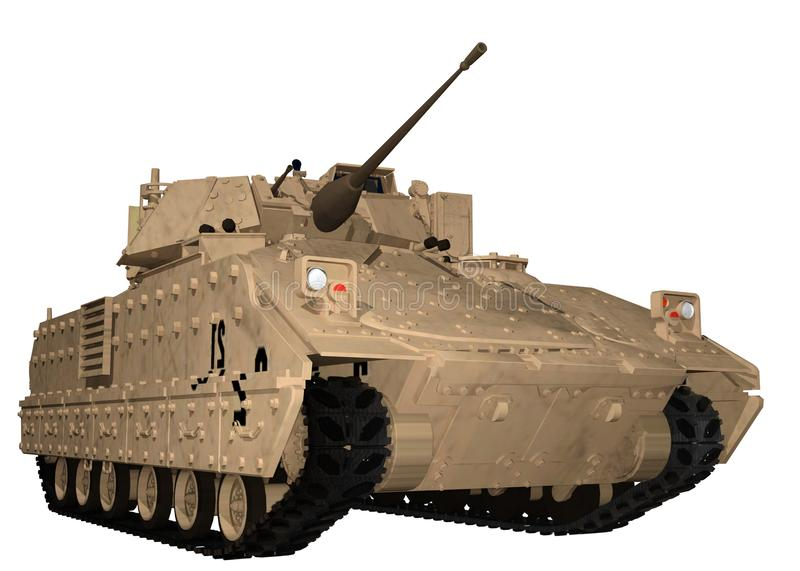 M2 Bradley Fighting Vehicle in Bruine Woestijn royalty-vrije illustratie