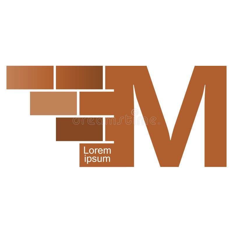 M brievenembleem, het ontwerp van het bakstenen muurembleem met plaats voor uw gegevens royalty-vrije illustratie