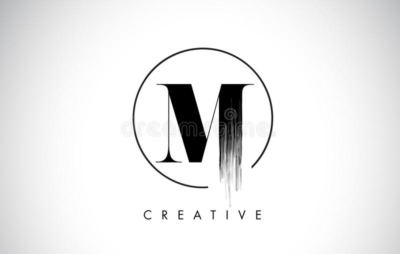 M. Brush Stroke Letter Logo Design Pittura nera Logo Letters Icon royalty illustrazione gratis