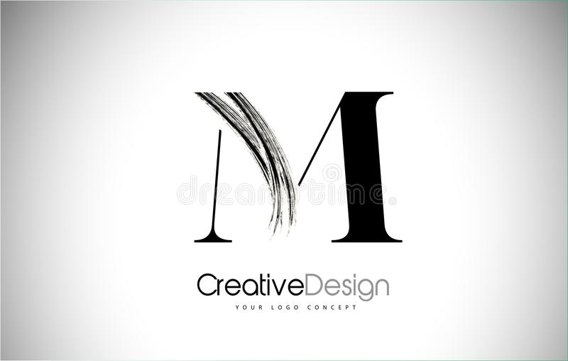 M Brush Stroke Letter Logo Design Svart målarfärg Logo Leters Icon stock illustrationer