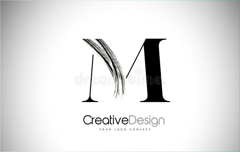 M Brush Stroke Letter Logo Design Zwarte Verf Logo Leters Icon stock illustratie