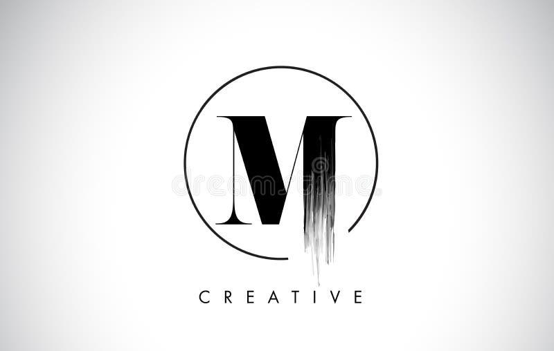 M Brush Stroke Letter Logo Design Zwarte Verf Logo Letters Icon royalty-vrije illustratie