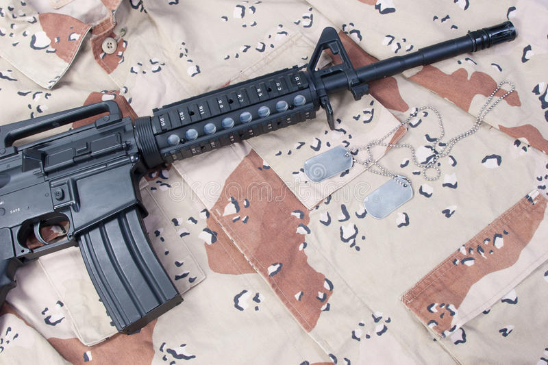 Download M4 Carbine With Blank Dog Tags Stock Photo - Image: 30307452