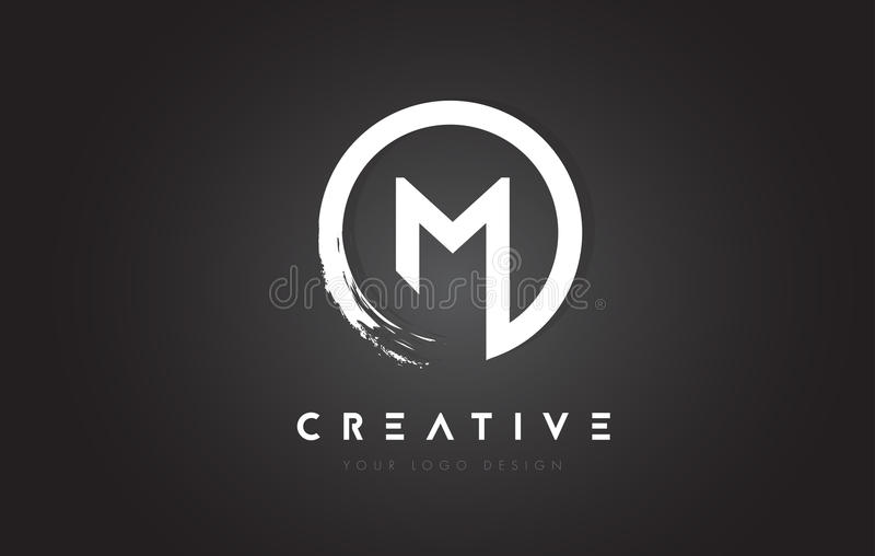 M Circular Letter Logo with Circle Brush Design and Black Background. vector illustration