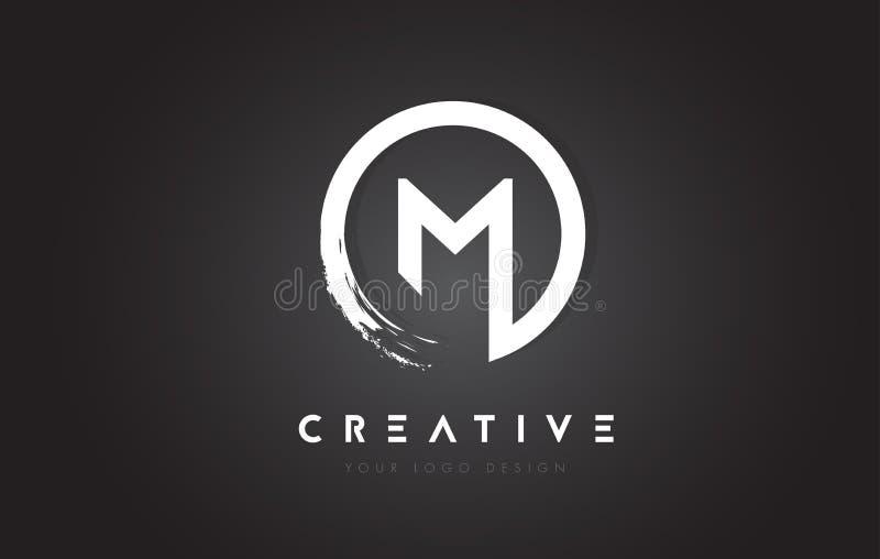 M Circular Letter Logo com projeto da escova do círculo e preto Backgr ilustração do vetor