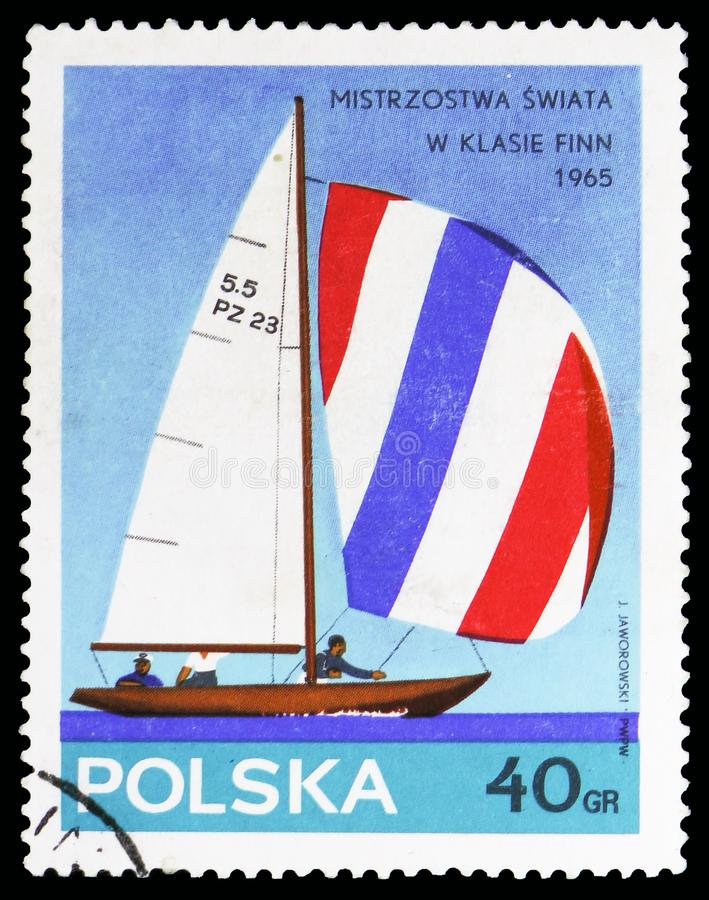 5.5-m. Class, Yachts serie, circa 1965. MOSCOW, RUSSIA - OCTOBER 6, 2018: A stamp printed in Poland shows 5.5-m. Class, Yachts serie, circa 1965 stock image