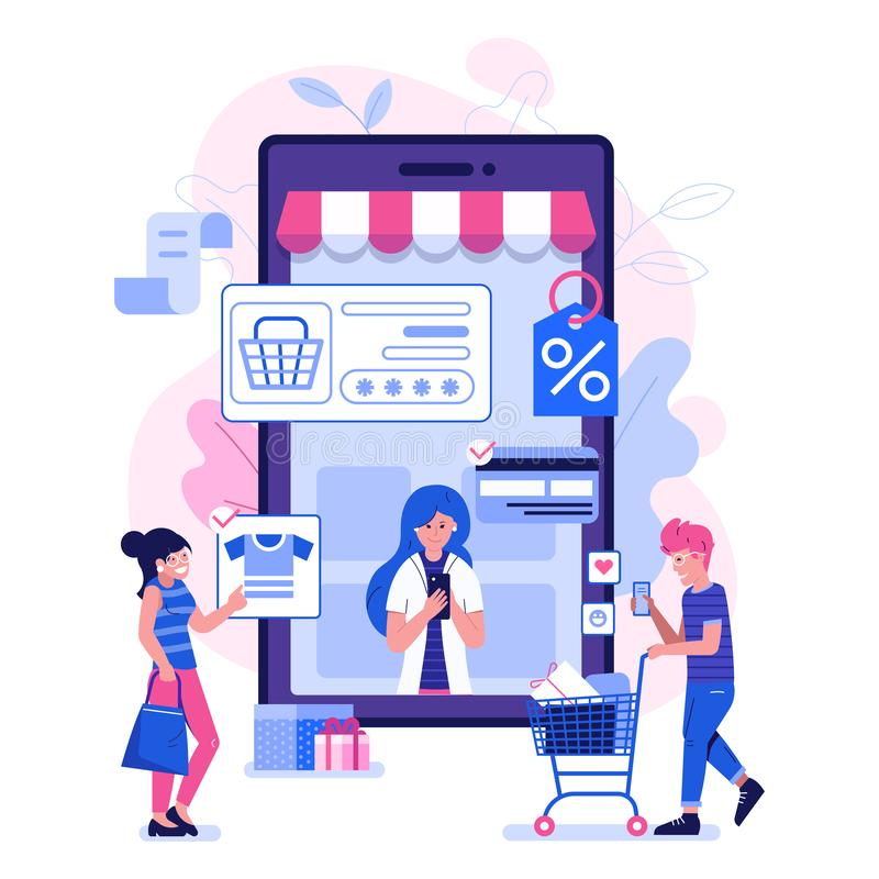 M Commerce Illustration with People on Shopping vector illustration