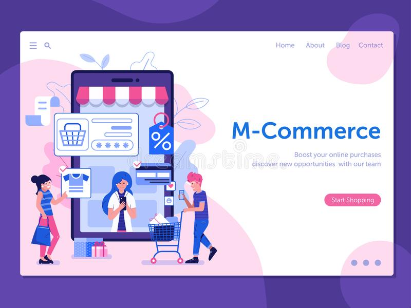M Commerce Illustration with People on Shopping stock illustration