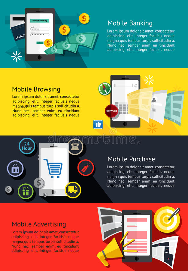 M-commerce or mobile phone business infographic banners about mo royalty free illustration