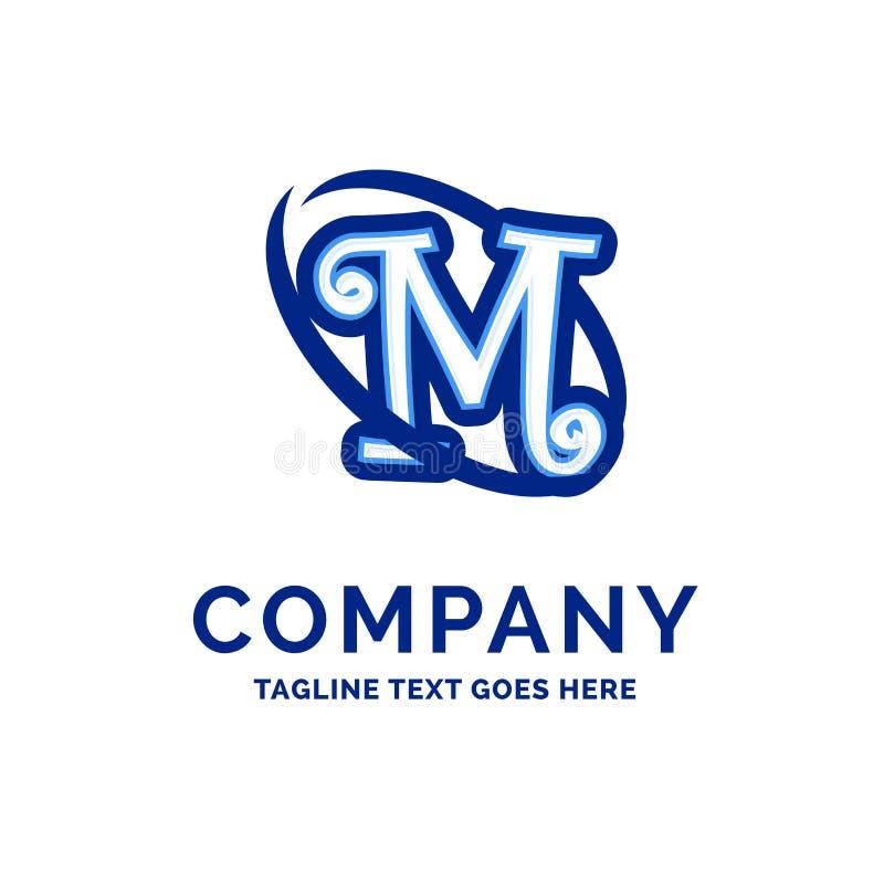 M Company Name Design Logo Design azul ilustração stock