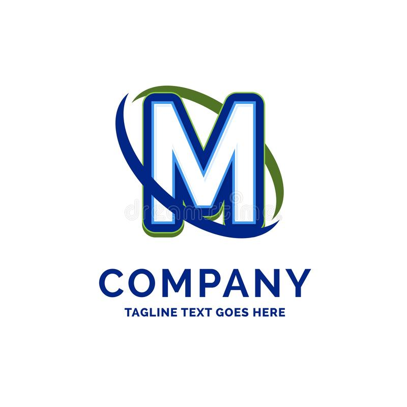 M Company Name Design. Logo Template. Brand Name template Place stock illustration