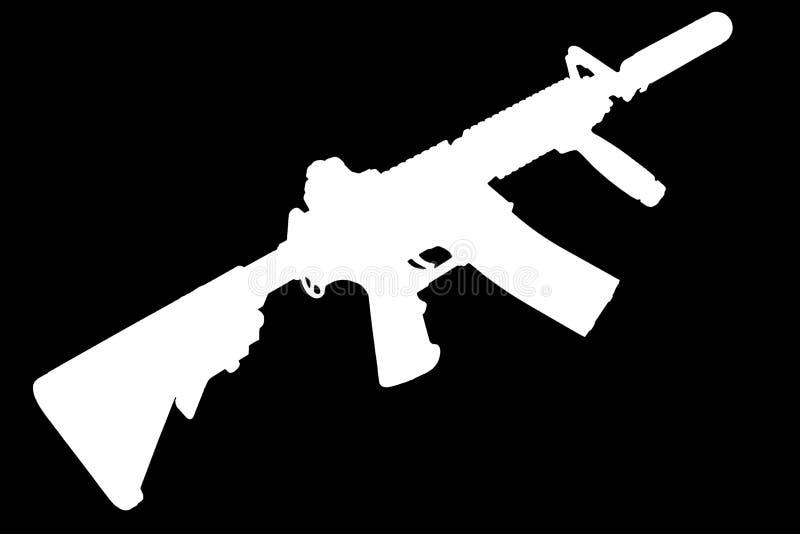 M4 con el supresor - silueta del rifle de las fuerzas especiales stock de ilustración