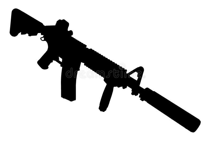 M4 con el supresor - silueta del rifle de las fuerzas especiales fotos de archivo libres de regalías