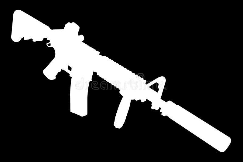 M4 con el supresor - silueta del rifle de las fuerzas especiales fotos de archivo