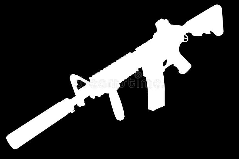 M4 con el supresor - silueta del rifle de las fuerzas especiales fotografía de archivo