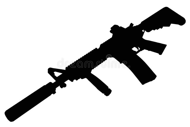 M4 con el supresor - silueta del rifle de las fuerzas especiales imagen de archivo