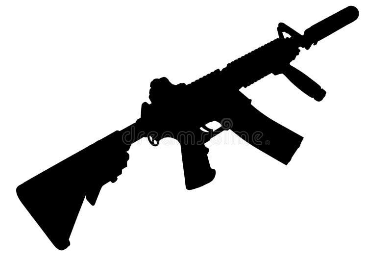 M4 con el supresor - silueta del rifle de las fuerzas especiales foto de archivo