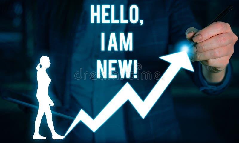 M'?crivant ? apparence de note bonjour suis nouveau Pr?sentation de photo d'affaires utilis?e comme salutation ou pour commencer  photos stock