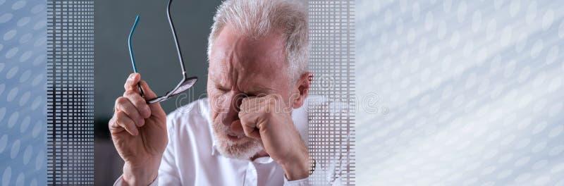 m?cz?cy biznesmena senior sztandar panoramiczny obrazy stock